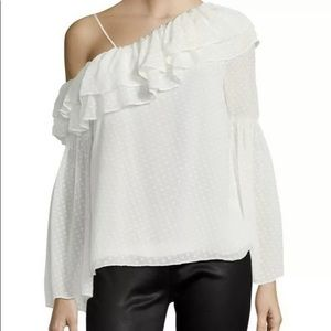 NWT! White one shoulder Parker top